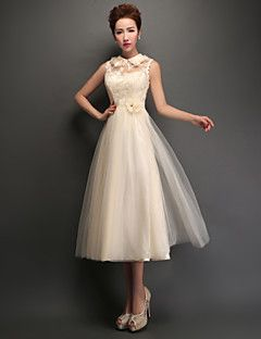 Tea-length Tulle Lace-up Bridesmaid Dress - A-line High Neck with Appliques / Lace – GBP £ 127.60