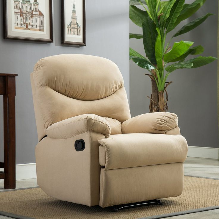 Belleze Recliner Armchair Sofa Chair Home Chaise Lounge w/ Padded Seat, Backrest & Armrests Microfiber -Beige