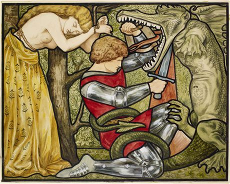 The Story of St George - St George Slaying the Dragon By Rosa Corder, Dante Gabriel Rossetti 1875 – 1890