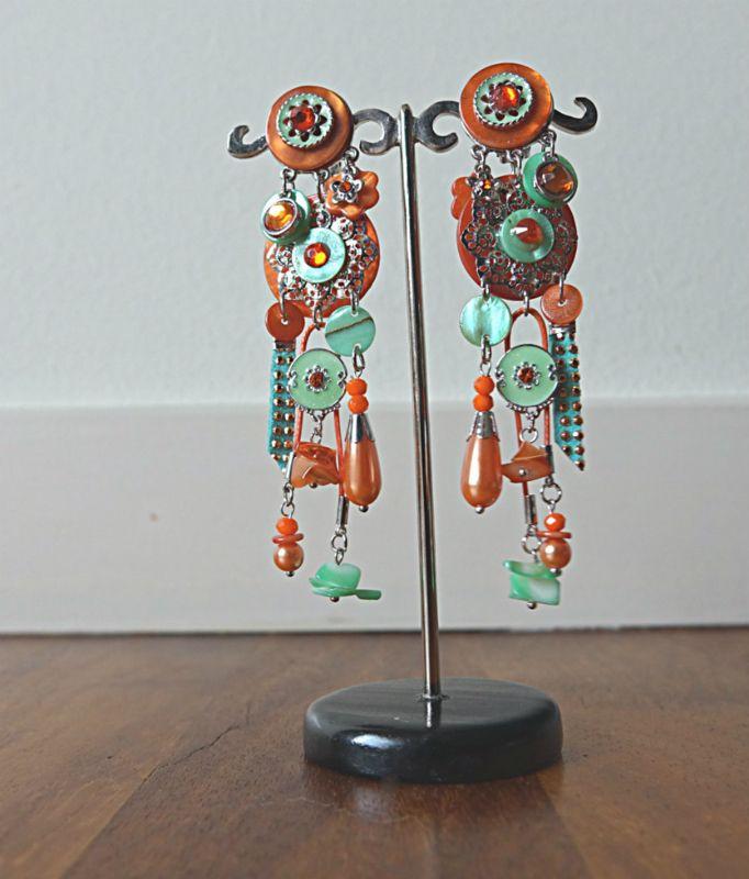 Extra Grote Statement Clip Oorbellen - Oranje / Groen Noor (CO-CC-1701)