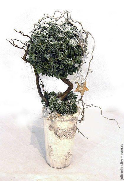 Винтажная коллекция - зелёный,зимний топиарий,композиция из хвои,Новый Год