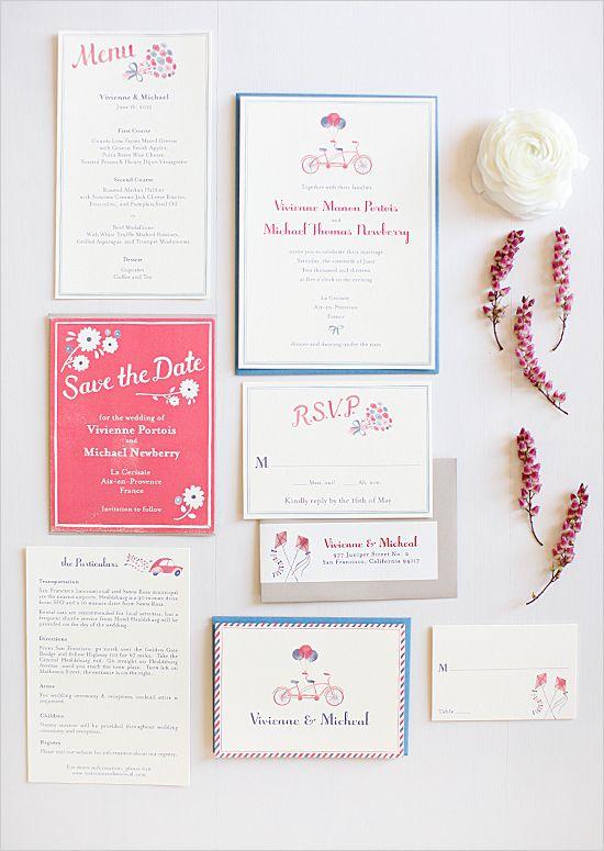 french bicycle wedding invites. Visit www.rosetintmywedding.co.uk for bespoke wedding planning and design.