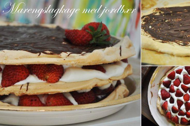 Marengslagkage med jordbær, Danmark,Pinse, Dessert, Desserter, opskrift