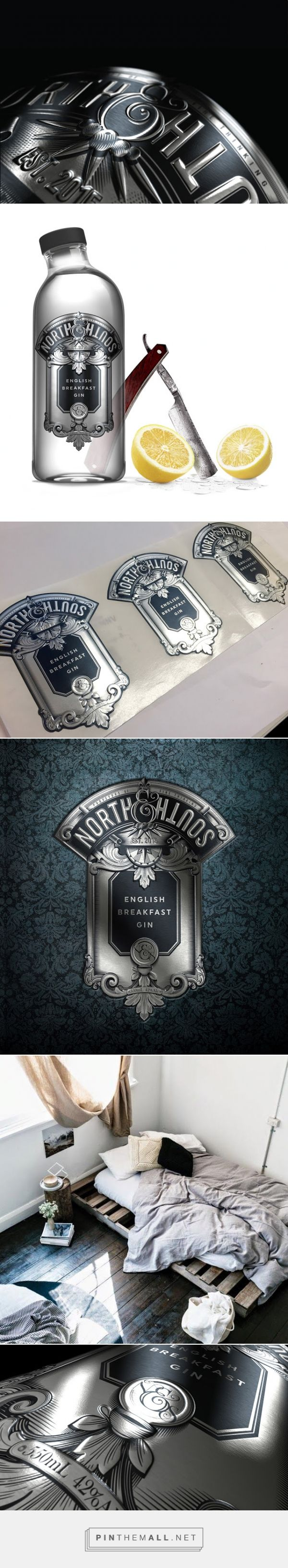 North & South #English Breakfast #Gin #Concept #packaging designed by Ben Chandler - http://www.packagingoftheworld.com/2015/06/north-south-english-breakfast-gin.html