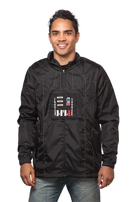 This lightweight windbreaker is designed to look like Darth Vader's armor. The design goes all the way around this full-zip hoodie, and certain special details are embroidered to pop. Elasticized cuffs with drawstring hood to keep the cold out.