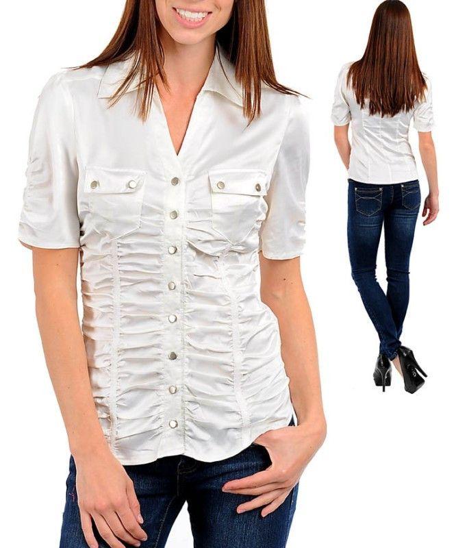 Sexy White Career Silk Satin Button Up Blouse Shirt Top