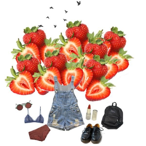 strawberry fields forever by papawine on Polyvore featuring Eres, Honeydew Intimates, Dr. Martens and American Apparel