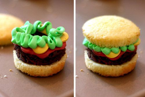"""""""Burger""""...Fries to follow! Cupcake """"bun"""", spread brownie mix on a large cookie sheet and cut out """"burgers"""". Lettuce, tomatoes and cheese made from icing and food coloring. Fun kids party idea!"""