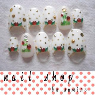 ネイルチップクリスマスツリー コスメ/美容のネイル(つけ爪/ネイルチップ)の商品写真