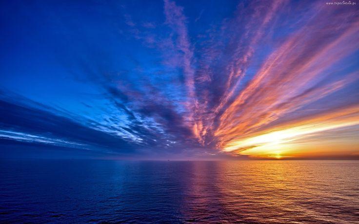 Morze, Niebo, Wschód, Słońca