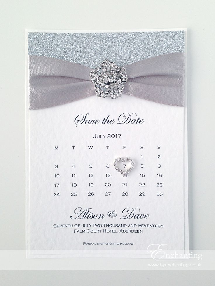 Silver Save the Date Calendar   The Cinderella Collection - Save the Date Calendar   Featuring silver glitter paper, silver grey ribbon and rose embellishment   Luxury handmade wedding invitations and stationery #byenchanting