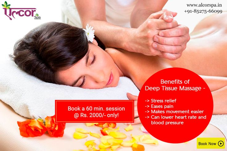 Deep Tissue Massage uses firm pressure and slow strokes to reach deeper layers of muscle. It's used for chronic aches and pain and contracted areas such as a stiff neck and upper back, low back pain, leg muscle tightness, and sore shoulders.   Book your appointment with alcor spa for a 60 minute session @ Rs. 2,000/- only!  To book an appointment, visit: http://alcorspa.in/book-appointment/   #AlcorSpa #DeepTissueMassage #SpaService #MassageTherapy #RelaxYourself #PamperSpa