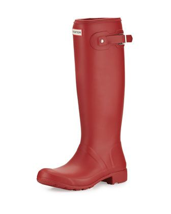 Original+Tour+Packable+Rain+Boot,+Military+Red+by+Hunter+Boot+at+Neiman+Marcus.