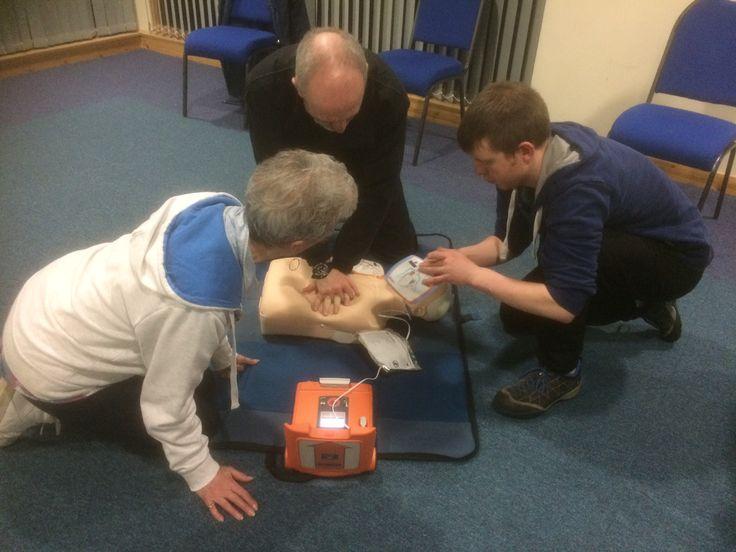 Defibrillator training. #community Boat of Garten Community Hall