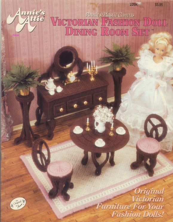 Free Plastic Canvas Pattern Victorian Fashion Doll Dining Room Set