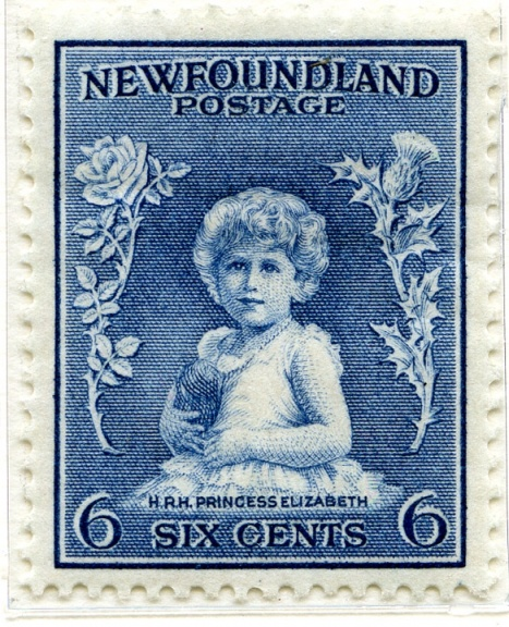 First stamp to show Princess Elizabeth, Newfoundland 1932, based on a photograph by Marcus Adams
