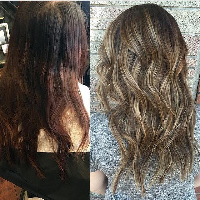 Before and after: auburn to bronde color correction. Color by @xtinachic #hair…