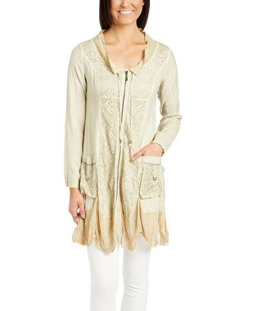 Another great find on #zulily! Cream Ombré Zip-Up Tunic #zulilyfinds