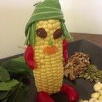 Corn man... Oh dear... capsican legs and arms...