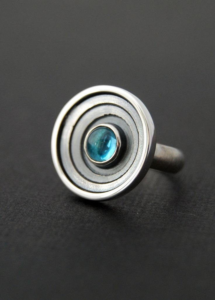 Galaxy Ring - Sterling silver ring with swiss blue topaz. $120.00, via Etsy.