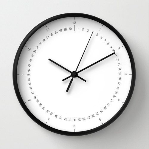 Classic wall clock, wall clock with numbers, hours and minutes numbers, very…