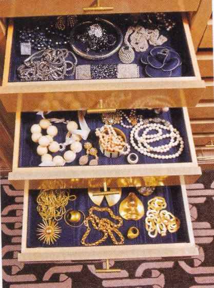 Fabric lined jewelry drawers- totally doing this soon, mine slides around so much and is too big for small dividers!