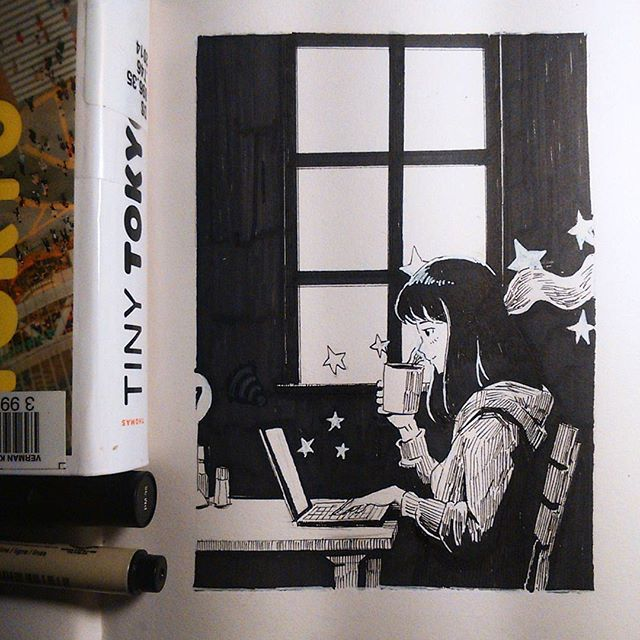 Small things that make you happy #9  When the cafe is quiet and the wifi is fast  I----------------------I  My college library has really limited but interesting books about japan  #art #mangaart #mangadrawing #manga #anime #animeart #animedrawing #drawing #illustration #doodle #cartoon #sketch  #artistspotlight #animearthelps #instaart  #girlscloudsandstars #pen #ink #marker