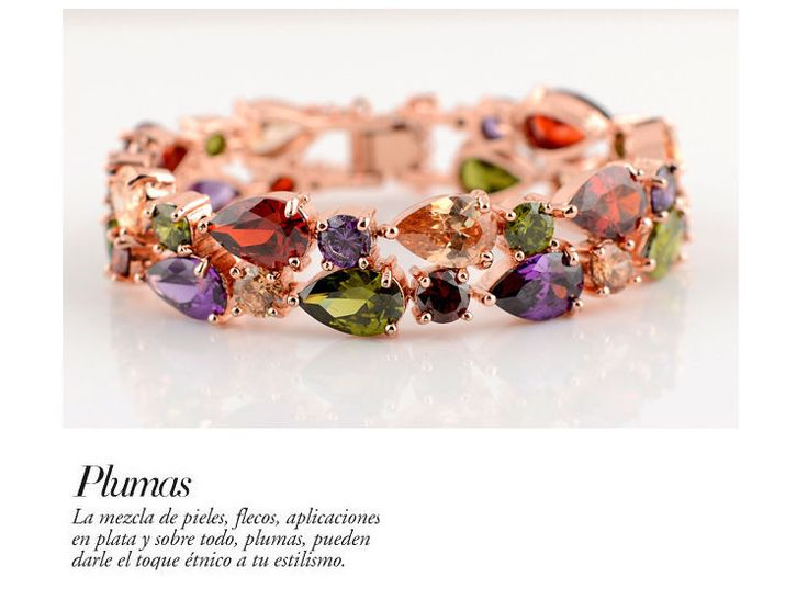 7.5 Inches Luxury Mosaic Sparkling Multi-color Zircon Rose Gold Lady Bracelet  #Handmade #Chain