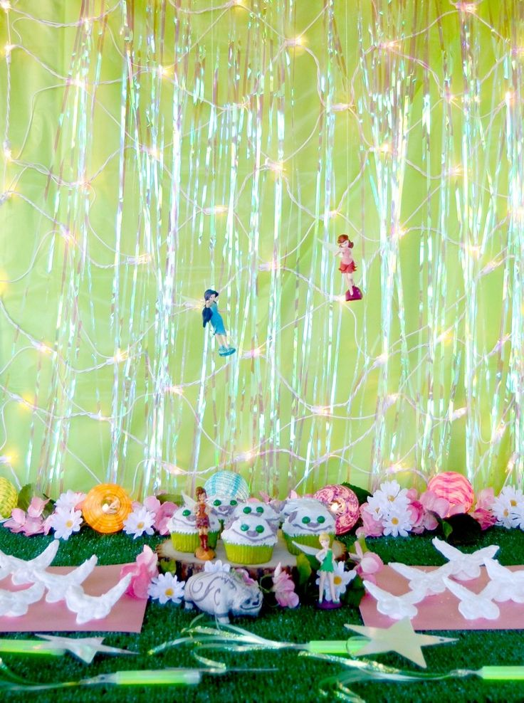 It's a Pixie Hollow Party with Comet Wands, Gruff Cupcakes and Fairy Wing Cookies.  Inspired by Disney's TinkerBell and the Legend of Neverbeast.
