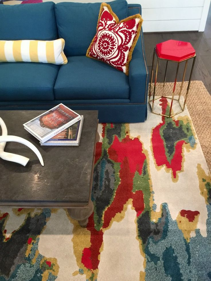 Southern Living Showcase Home   Living Room With Colorful Rug And Furniture  #rug