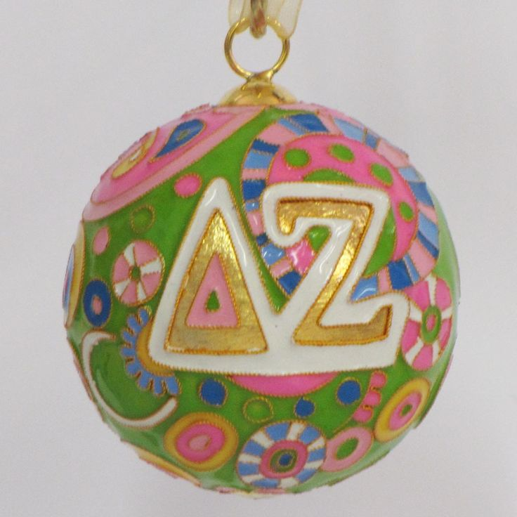 Officially licensed Delta Zeta, handcrafted, 24k gold plated cloisonne ornament - www.KittyKeller.com