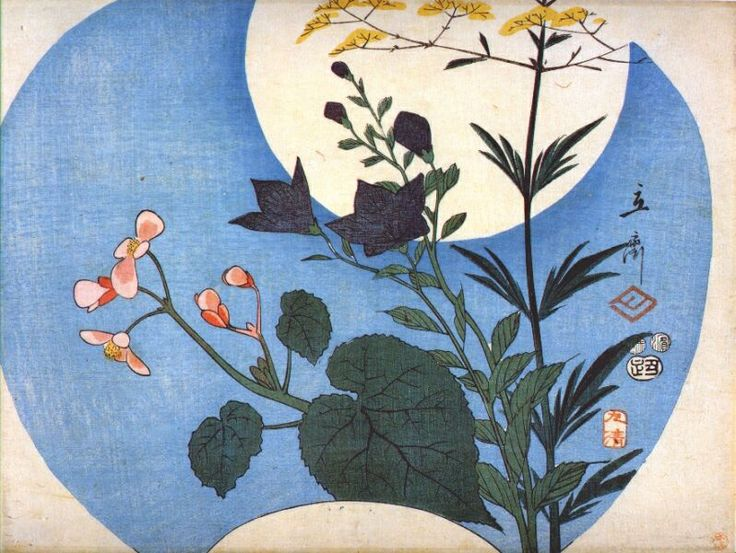 Hiroshige, Autumn Flowers in Front of Full Moon