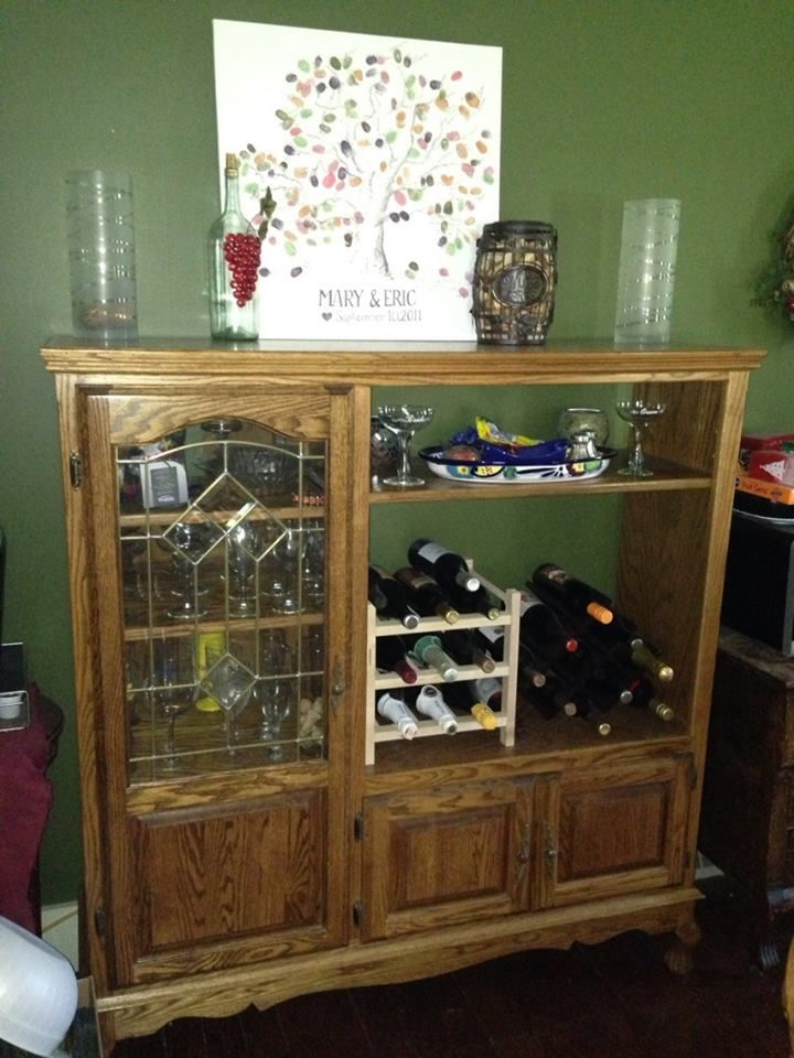 We Turned Out Old Oak Entertainment Center Into A Bar