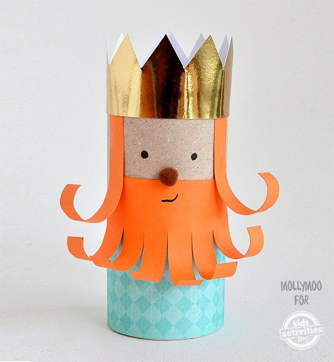 Cardboard Roll Craft for Kids! Make a cute, king finger puppet using a recycled cardboard roll, craft paper, and glue.