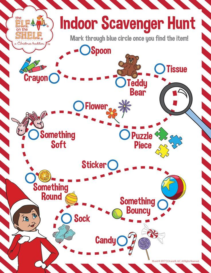 Indoor Scavenger Hunt for kids! See how many items you can find around your home or, if you want more of a challenge, see how many you can find in 90 seconds!   Elf on the Shelf Ideas   Rainy Day Activities   Snow Day Activities   Fun of Kids   Free Printable Activities for Children