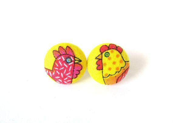$11.46 Funky chicken earrings   small earrings for kids  by KooKooCraft