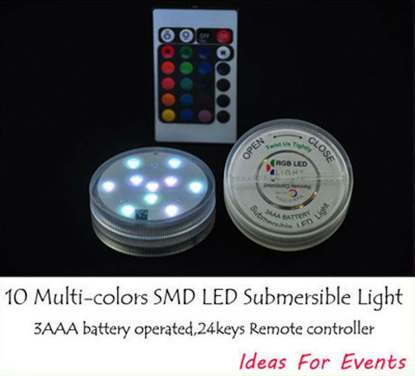 Multi-colores Sumergible llevó las luces para las piezas centrales, Vacaciones, decoración brithday de luz con control remoto(China (Mainland))