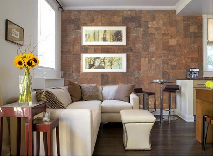 Accent Wall With Natural Cork Tiles Brick Interior