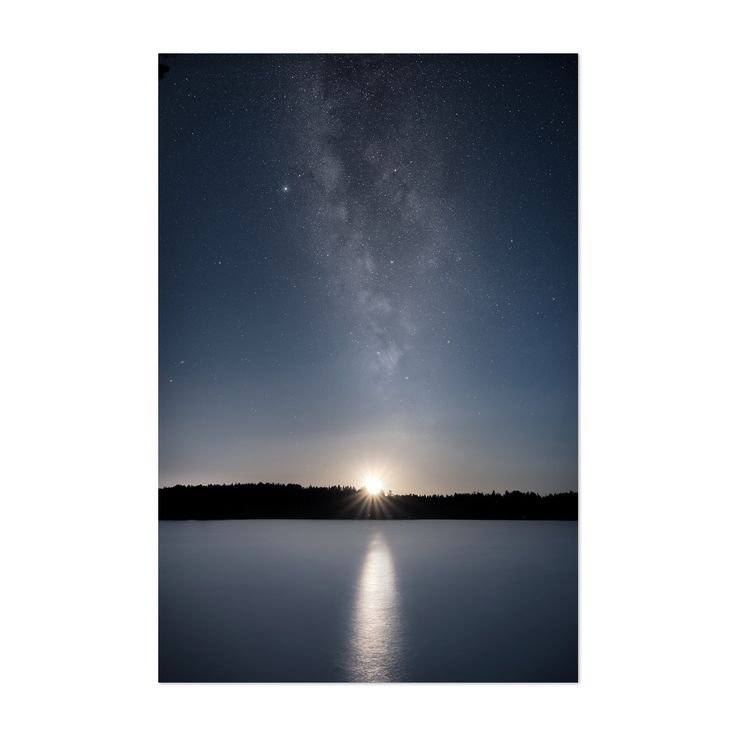 Noir Gallery Milky Way Night Sky Lake Finland Unframed Art Print/Poster (16 x 20), Blue
