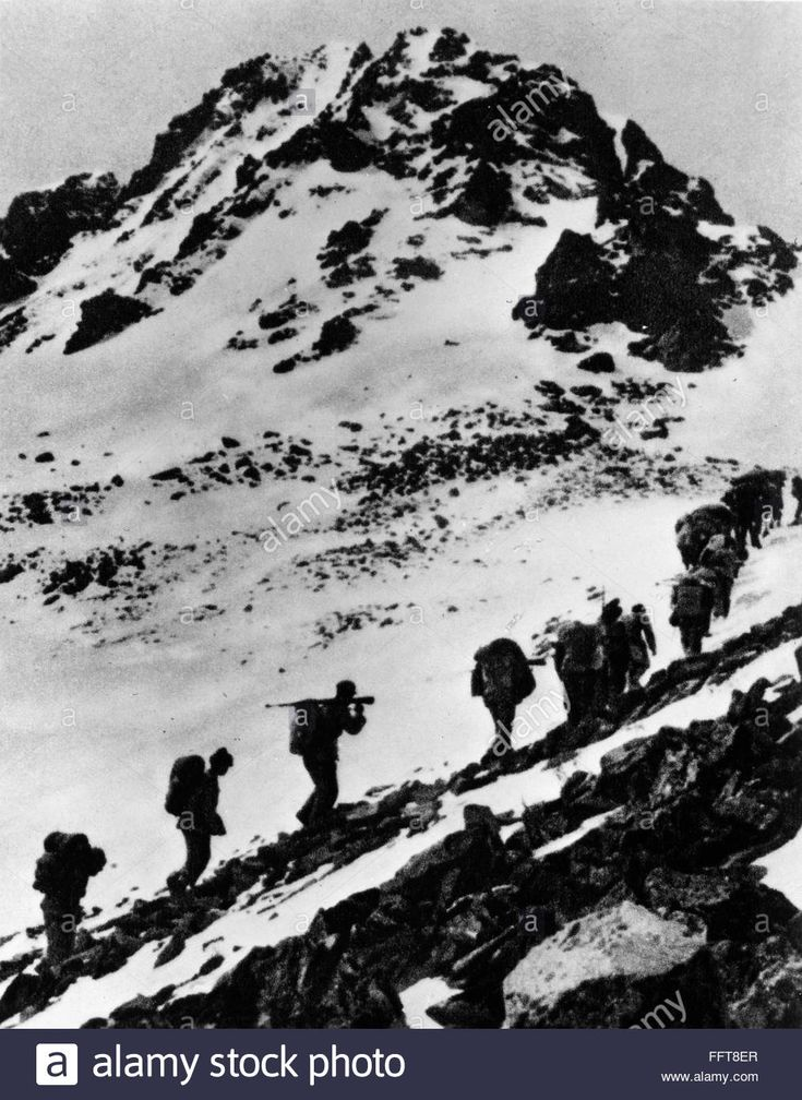 CHINA: LONG MARCH, 1935. /nChinese Communist troops crossing the snow-covered Jiajin Mountain in Szechwan province, China, during the Long March, June 1935.