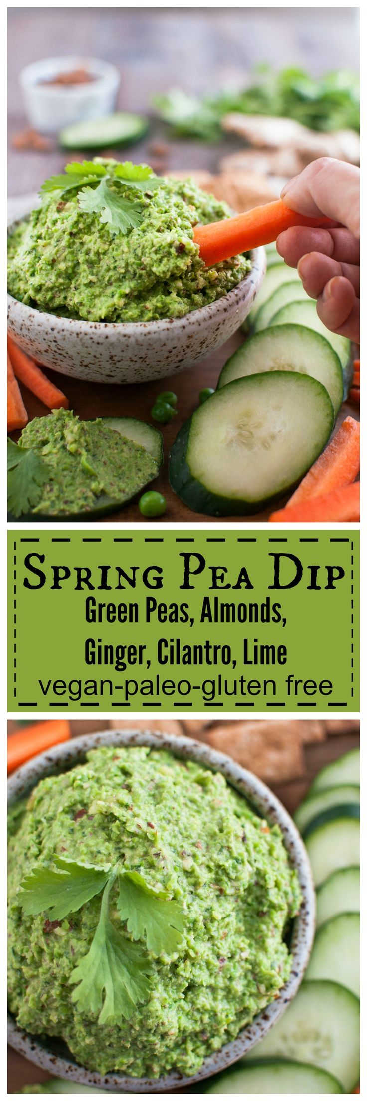 Spring Pea Dip with Amonds, Ginger, Cilantro, and Lime only 5 minutes to make! #vegan #glutenfree #paleo