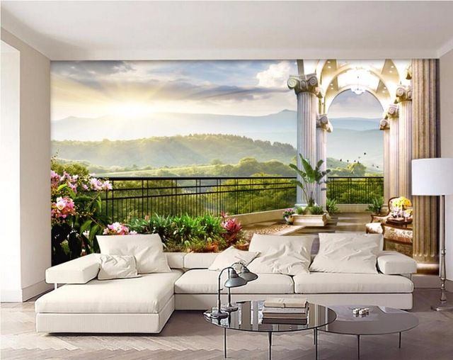 3d wall painting scenery room ideas paper forward room wallpaper