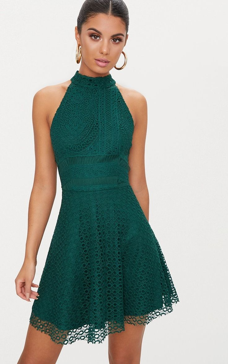 Emerald Green Lace High Neck Skater DressThis oh-so-cute skater dress is perfect for that all-imp...