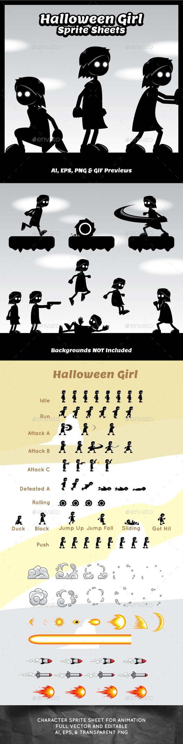 Halloween Girl Game Character Sprite Sheets Download here: https://graphicriver.net/item/halloween-girl-game-character-sprite-sheets/10762933?ref=KlitVogli