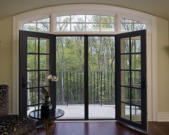 Double French Doors To Deck With Retractable Screen.
