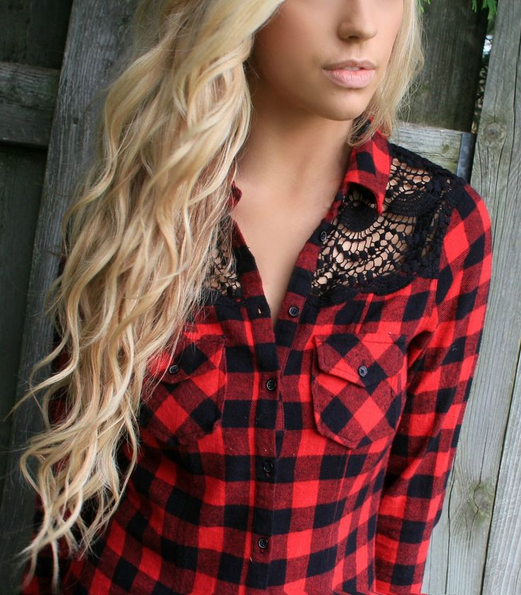 White Crow Offering Red Plaid Button Up Top Her Hair