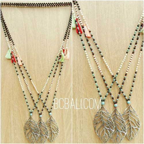 bronze caps pendant necklaces beads stone 3color - bronze caps pendant leaves necklaces beads stone 3color