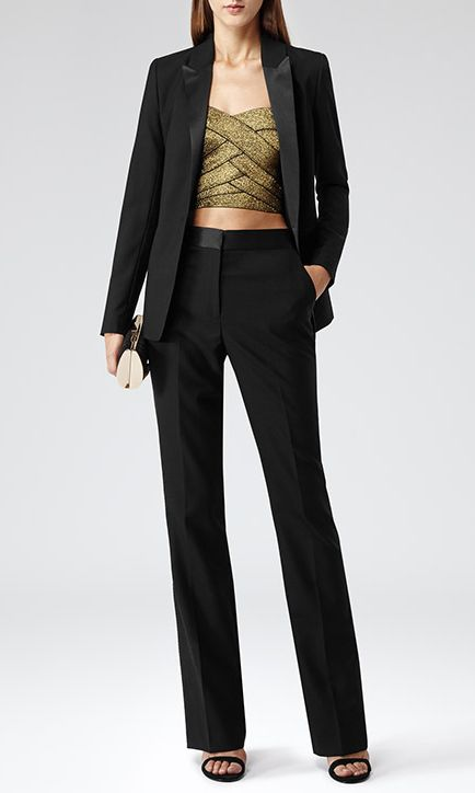 Would totally wear this if I could.   Reiss Schiffer Gold Metallic Bandeau Top with Reiss Black Slim Fit Suit
