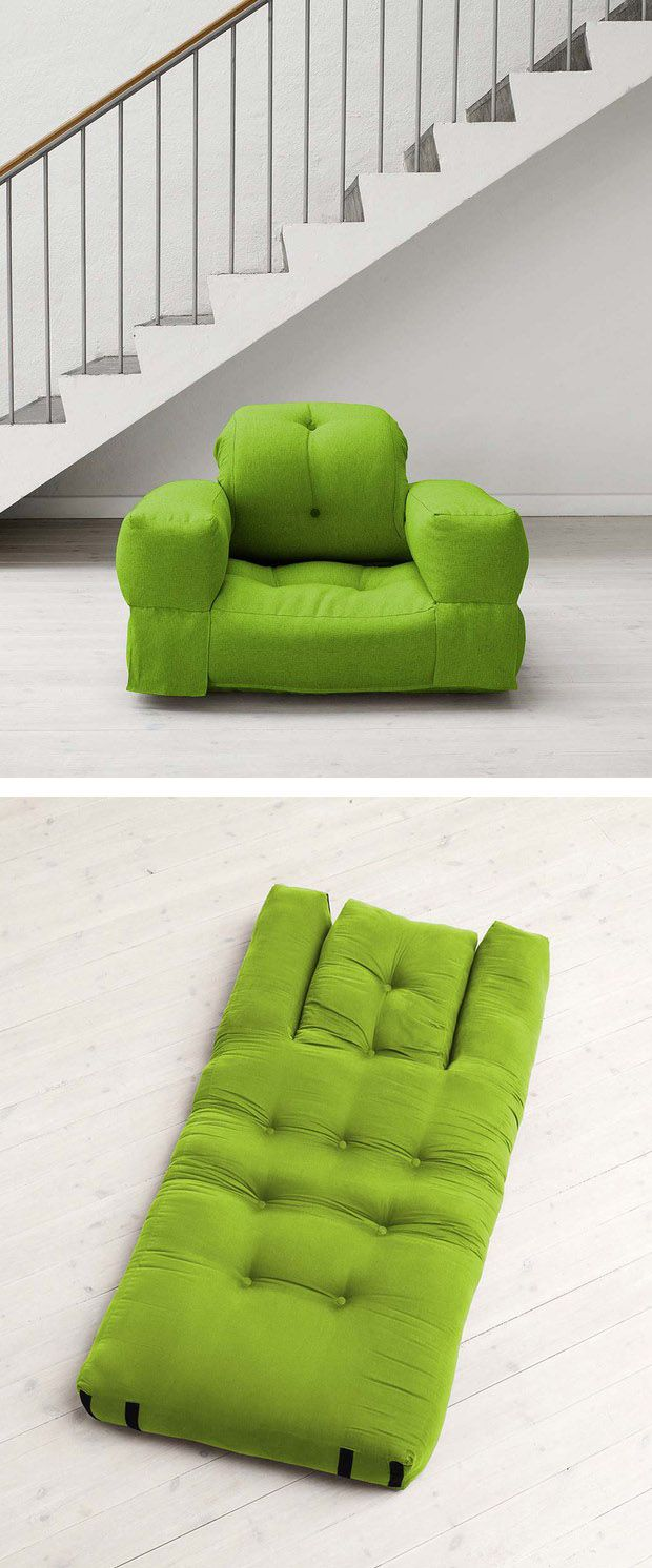 Chair that converts easily to a mattress. This would be perfect for college dorm rooms!