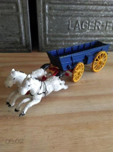 Oud Vintage Antiek Hubley Paard en Wagen Huifkar Western